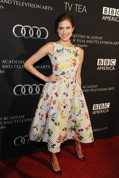 Allison Williams in Oscar de la Renta at the BAFTA party. [Photo by Amy Graves]