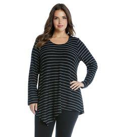 cde5179cd85 Karen Kane Plus Size Asymmetric Angled Top Curvy Women Fashion