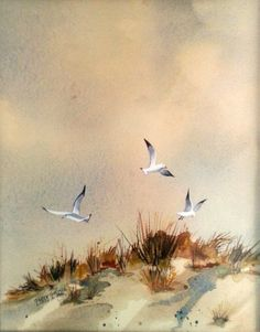 Watercolor painting of seagulls over sand dune.