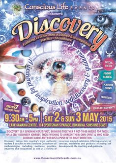 A weekend of Inspiration, Discovery & Clarity Featuring 25 of the country's most acclaimed and accomplished psychics alongside over 50 plus exhibitors, 'Discovery' is a Sunshine Coast first, bringing together a not-to-be-missed for those on a self-discovery journey, those wishing to awaken their own spirit & who need guidance and clarity or just a push in the right direction. A weekend of inspiration, self discovery & guidance with both top intuitive readers, self development & coaching…