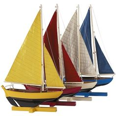 Authentic Models Sunset Sailors - Set Of 4 ($115) ❤ liked on Polyvore featuring home, home decor, boats, decor, nautical decor, multi, authentic models, colorful home decor and handmade home decor