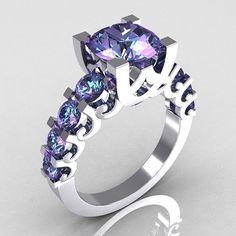 Modern Vintage 18K White Gold 2.0 Carat Alexandrite Designer Wedding Ring R142-18WGAL