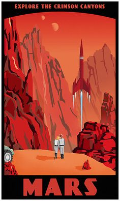 """Explore the Crimson Canyons"" space travel poster"