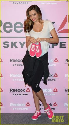 miranda kerr takes her reebok skyscape sneakers to tokyo 02 Miranda Kerr hits the stage and happily poses for photographs while attending her press conference for Reebok Skyscape on Wednesday (April 2) in Tokyo, Japan.  …