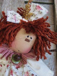 Items similar to E pattern Raggedy Tissue Bag on Etsy Lazy Day, Anni Downs, Primitive Country Christmas, Scarecrow Crafts, Plastic Bag Holders, Bazaar Ideas, Raggedy Ann And Andy, Doll Hair, Doll Patterns