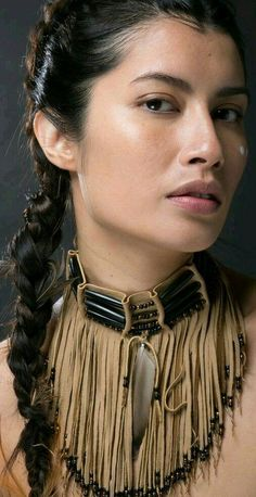Native American leather fringed choker on Model by TribalTerri on DeviantArtYou can find Native american women and. Native American Models, Native American Beauty, American Indian Girl, American Indians, American Symbols, American Art, American History, Estilo Cowgirl, Long Length Hair