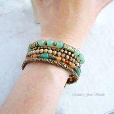 Memory Wire Bracelet Earthy Gemstone Beaded by mamisgemstudio