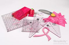 Support Breast Cancer with #Simplicity this month with our Cherish pretty and pink EZ Quilting Tools!