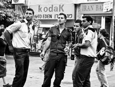 A group of IDF soldiers taking a break on Ben Yehuda Street in Jerusalem.