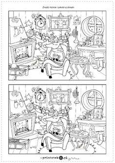 Znajdź różnice - dom Rudolfa - Printoteka.pl Diagram, Diy, 3 Year Olds, Speech Language Therapy, Therapy, Bricolage, Do It Yourself, Homemade, Diys