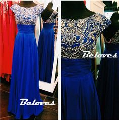 Royal Blue Beaded Cap Sleeves Prom Gown With V Back