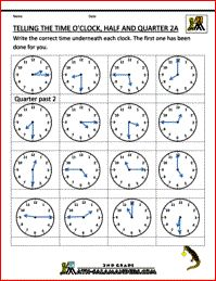 clock worksheets telling the time oclock half quarter 2a
