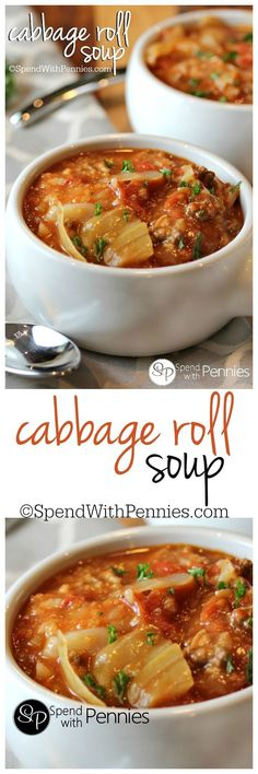 Cabbage Roll Soup is my favorite way to enjoy cabbage rolls! Loads of cabbage, m… Cabbage Roll Soup is my favorite way to enjoy cabbage rolls! Loads of cabbage, meat and rice in a flavorful tomato broth make the perfect comfort food! Crockpot Recipes, Cooking Recipes, Great Recipes, Favorite Recipes, Delicious Recipes, Tomato Rice, Tomato Soup, Cabbage Recipes, Gastronomia