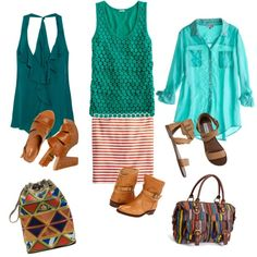 Red Skirt + Turquoise Top, created by megangordon on Polyvore