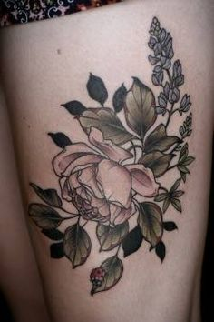Kristen Holliday Thigh Floral Tattoo
