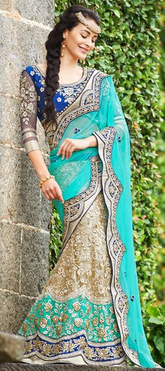 150135: Blue, Beige and Brown color family Saree with matching unstitched blouse.