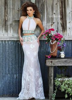 Ivory Nude 32233 Beaded Two Piece Ruched Prom Dress