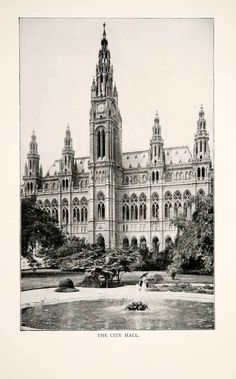 This is an original 1902 black and white halftone print of the City Hall or Rathaus of Vienna, Austria. CONDITION This 109+ year old Item is rated Near Mint / Very Fine+. No creases. No natural defect