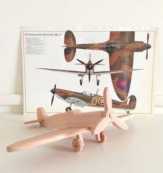 Spitfire Mark V World War II Airplane . Handcrafted Wooden Toy or Decor . Custom Order