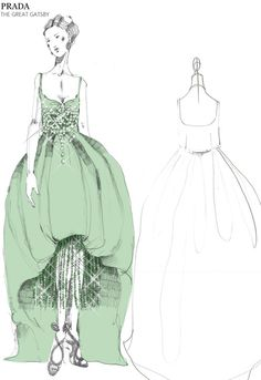 """PRADA Great Gatsby Costume design. """"Radzmire dress with bustier embroidered with pearls, stones and sequin fringes. Inspired by a revisited silhouette of the 1920s, it is made contemporary by the use of modern fabrics and embroideries of the 1950s."""""""