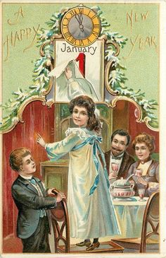 A HAPPY NEW YEAR  girl stands on chair to reveal date, couple sit at table behind, boy supports chair