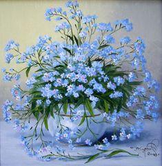 Forget-me-nots, When I was a Little Girl these were my favorite flowers. Beautiful Flower Arrangements, Blue Flowers, Floral Arrangements, Beautiful Flowers, Blue Garden, Flower Basket, Art Floral, Vintage Flowers, Flower Decorations