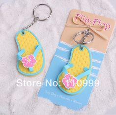 "New Arrival  20PCS/LOT ""Flip Flop"" Tropical Flower Key Chain wedding bridal shower party favor gift $36.00"