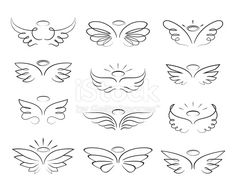 Vector sketch angel wings in cartoon style isolated on white background. Cartoon wings element line illustration Vector sketch angel wings in cartoon style isolated on white background. Cartoon wings element line illustration Wing Tattoos On Wrist, Small Wing Tattoos, Tiny Tattoo, Small Tattoos With Meaning, Baby Tattoos, Little Tattoos, Body Art Tattoos, Tatoos, Sleeve Tattoos