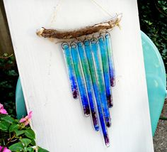 Custom Fused Glass and Driftwood Wall Art by KarmaBeads on Etsy