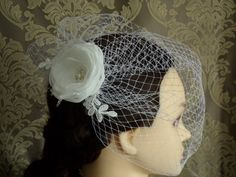 Birdcage Veil and Fascinator, Wedding Veil, Blusher Veil, Wedding Headpiece, Bridal Veil, Ivory or white Veil