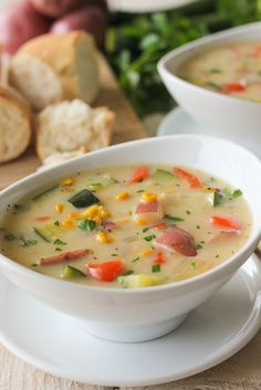 Potato Corn Zucchini Chowder: 3 sliced zucchini, 1 chopped onion, 1 grated carrots, 2 grated russet potatoes, fresh chopped basil, chicken broth (6+ cups), 1 package frozen corn, evaporated milk (12 oz), shredded cheese (2 cups), 1/3 c flour and 1/3 c butter/olive oil.