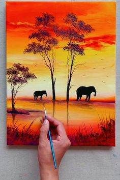 Elephant at Sunset - Acrylic Paint Step by Step Tutorial Acrylic elephant paint step Sunset Tutorial Canvas Painting Tutorials, Easy Canvas Painting, Acrylic Painting Techniques, Diy Canvas Art, Sillouette Painting, Canvas Canvas, Canvas Ideas, Poster Color Painting, Sunset Acrylic Painting