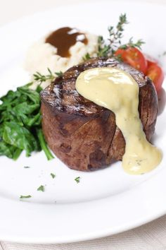 While this recipe will take some time to prepare, it is well worth it. You can prepare the bernaise sauce shortly before the steaks go on the grill.