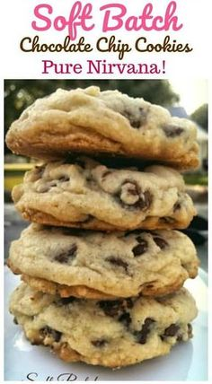 """Delectable insane buttery rich thick soft-batch chocolate chip cookies are pure """"Nirvana"""". You won't want to miss out on these! Perfect Chocolate Chip Cookies, Chocolate Cookie Recipes, Easy Cookie Recipes, Baking Recipes, Chocolate Chips, Choclate Chip Cookies, Brownie Recipes, Chocolate Cake, Chocolate Chip Cookies Recipe Baking Powder"""
