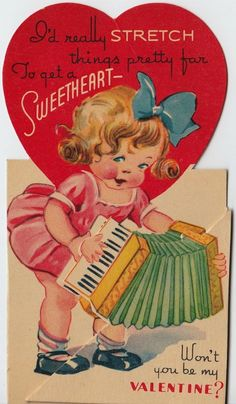 Vintage Greeting Card Valentine Girl Accordion 1940s v847