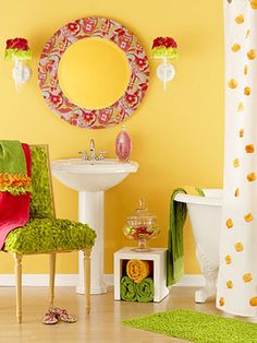 Cute idea for a girly bathroom.   Modpodge an old mirror with matching fabric.  Hot glue frilly lace on light scones and sew them on towels.... Stitch some scattered silken rose petals on a plain shower curtain.  What great ideas!!