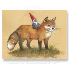 Young Gnome and Fox Post Card from Zazzle.com