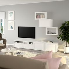 BESTÅ TV storage combination/glass doors, white, Hanviken white clear glass, cm (CA) - IKEA Tv Storage, Storage Spaces, Record Storage, Media Storage, Tv Wanddekor, Wall Unit Designs, Tv Bench, Tv Wall Decor, Living Room Tv