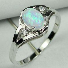 White Opal Rings | White Opal Rings - P029 925 STERLING SILVER WHITE FIRE OPAL GEM RING ...