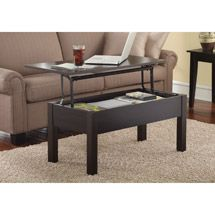 Walmart: Mainstays Lift-Top Coffee Table, Espresso  Measure for size.  Matching/coordinating end tables available, too.  $79