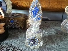 Blue jeweled crystal perfume bottle by cindysvictorian on Etsy, $49.00