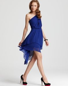 Max & Cleo Dress Asymmetrical One Shoulder Dress in Blue (dragonfly blue) - Lyst