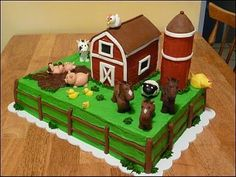 Life on the farm cake idea.  See more barnyard birthday party and birthday parties for kids on www.one-stop-party-ideas.com