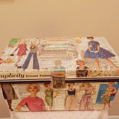 Upcycled Sewing Notions Caddy with organizer tray! Simplicity Sewing Patterns, Vintage Patterns, Craft Stick Crafts, Crafts To Make, Vintage Suitcases, Vintage Luggage, Art Studio Storage, Craft Projects, Sewing Projects