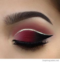 Awesome burgundy eye with silver line | Inspiring Ladies