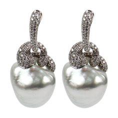 1stdibs.com | South Sea Pearl and Diamond Gold Earrings