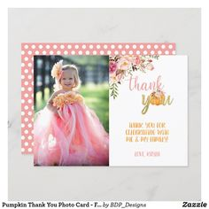 Pumpkin Thank You Photo Card - Floral Girl (Dots) Christmas Photo Cards, Christmas Photos, Holiday Cards, Note Cards, Thank You Cards, Pumpkin First Birthday, Thank You Photos, Stationery Paper, Halloween Christmas