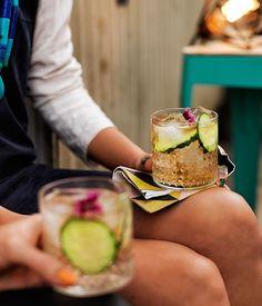 Australian Gourmet Traveller cocktail recipe for Elderflower G&T. Summer Drinks, Cocktail Drinks, Fun Drinks, Cocktail Recipes, Cocktails, Beverages, Gin Recipes, Gourmet Recipes, Juicing