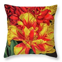 Fiona Craig Throw Pillow featuring the painting Tulipomania 14 Red And Yellow by Fiona Craig