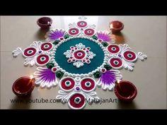 Super Creative and Easy Rangoli Designs Using Bangles Easy Rangoli Patterns, Rangoli Designs Simple Diwali, Rangoli Designs Flower, Rangoli Borders, Rangoli Colours, Rangoli Ideas, Rangoli Designs Images, Diwali Rangoli, Flower Rangoli